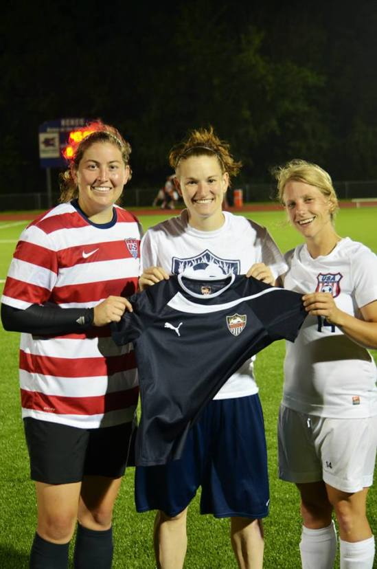 Our captain with the co-captains of the USA Women's National Deaf team after the match. Our jersey will be going with them to Bulgaria next month for the Deaflympics!