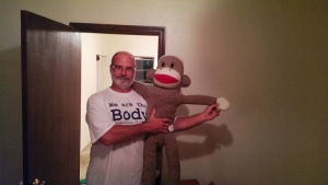 I've never seen a grown man freak out about a sock monkey as quickly as Jim did tonight. It's now with him.